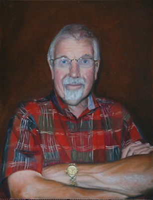 Portrait in oils of my father with crossed arms