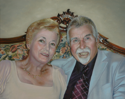 Portrait of couple on their 50th anniversary in oils
