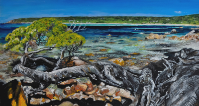 Acrylic landscape painting of beach in Dunsborough WA